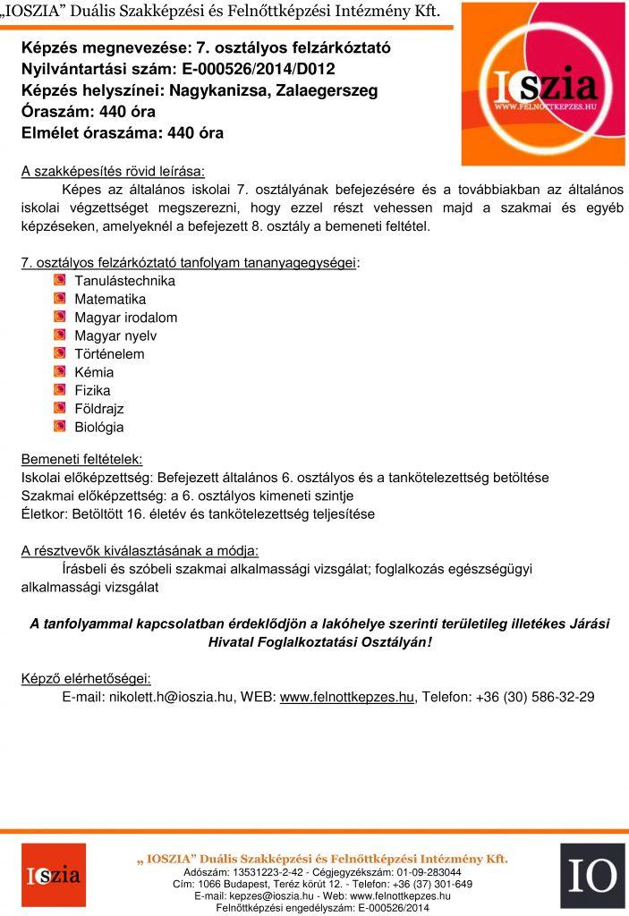 7. osztályos felzárkóztató - Nagykanizsa - Zalaegerszeg - felnottkepzes.hu - Felnőttképzés - IOSZIA