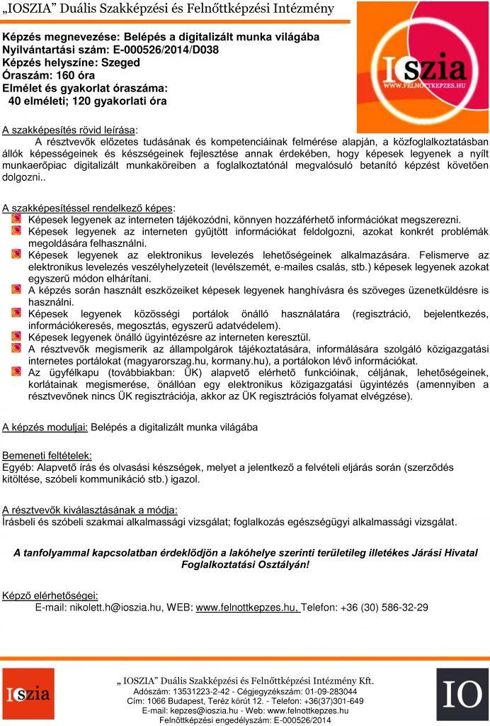 Belépés a digitalizált munka világába - Szeged - felnottkepzes.hu - Felnőttképzés - IOSZIA