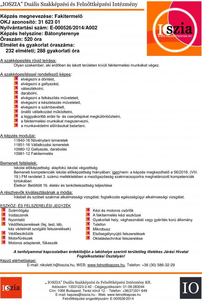 Fakitermelő OKJ - Bátonyterenye - felnottkepzes.hu - Felnőttképzés - IOSZIA
