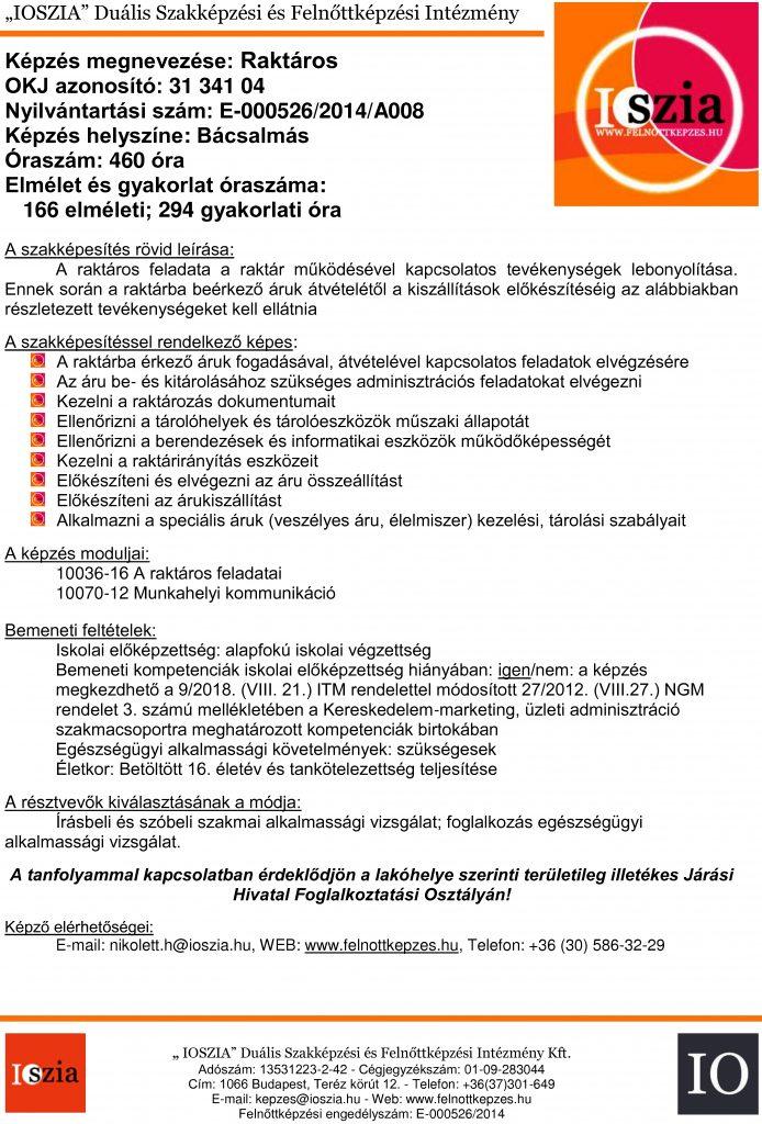 Raktáros OKJ - Bácsalmás - felnottkepzes.hu - Felnőttképzés - IOSZIA
