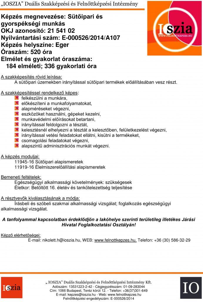 Sütőipari és gyorspékségi munkás OKJ - Eger - felnottkepzes.hu - Felnőttképzés - IOSZIA
